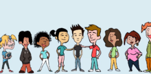 Daphne with a line of people from other races.png