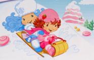 Frosty and Strawberry Sledding