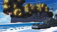 Britannian battleship firing with a Fletcher-class destroyer alongside