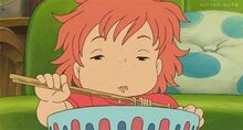 Ponyo sleepy while eating food.jpg