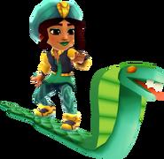 Salma Surfing on the Cobra Board