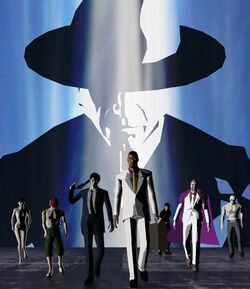 Front, from left to right: KAEDE Smith, Con Smith, Dan Smith, Garcian Smith, Coyote Smith, MASK de Smith, and Kevin Smith. Back: Harman Smith.
