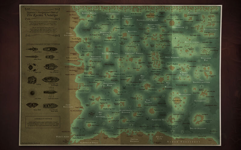 a high quality matt-laminated A2 poster featuring a map of the Unterzee.