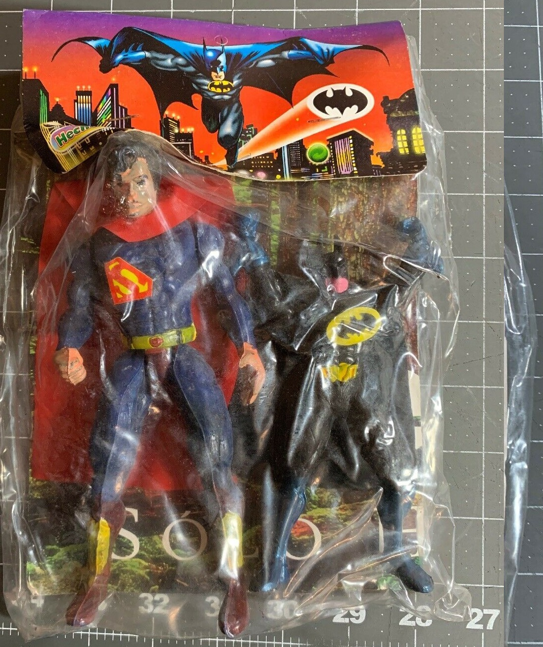 Superman and Batman figures (Made in Mexico)