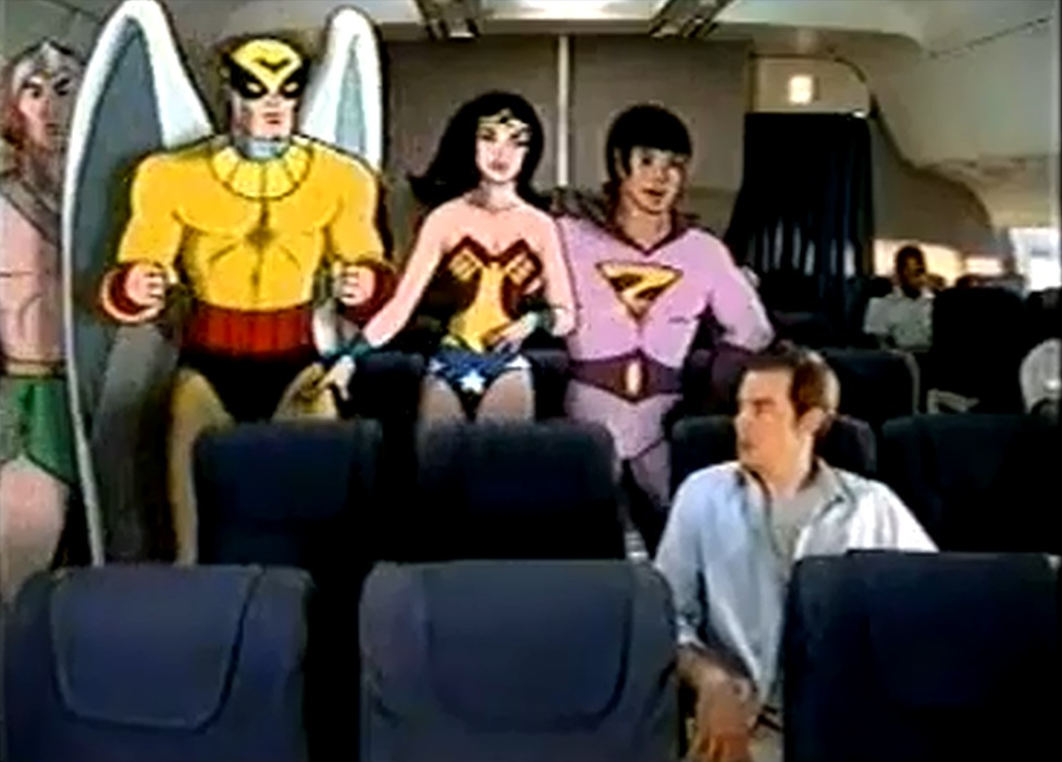 Super Friends on an airplane