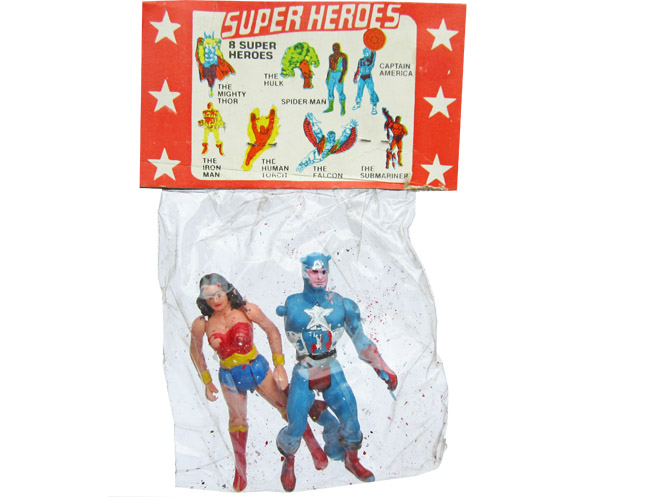 Captain America and Wonder Woman (Super Powers figures)