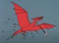 Flying beast shot with arrow