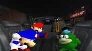 Mario, SMG4, Bob, and Boopkins in Aniem Cartel limousine