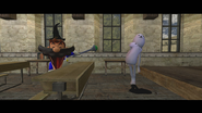 SMG4 as a wizard with a Eggdog monster