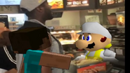 Steve at a fast food restaurant