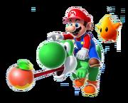 Mario Yoshi Sfavillotto Aiutante Artwork - Super Mario Galaxy 2.png
