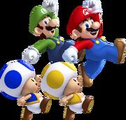 Mario, Luigi, Toad Giallo, Toad Blu Artwork - New Super Mario Bros. U.png