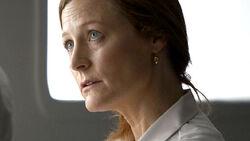 Fiona Douglas testing the virus on Abby Grant.