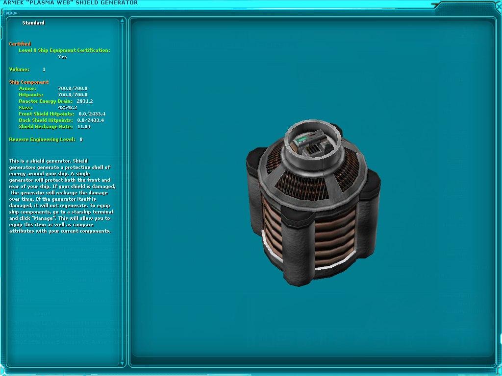 "Armek ""Plasma Web"" Shield Generator"