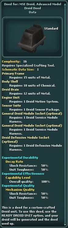 Deed for: MSE Droid, Advanced Model