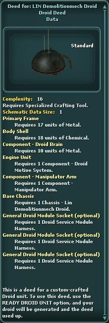 Deed for: LIN Demolitionmech Droid