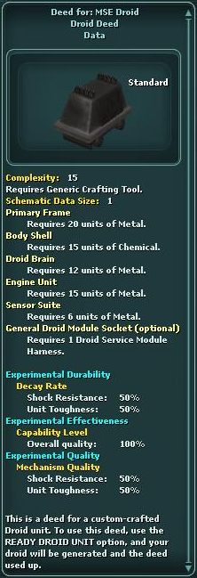 Deed for: MSE Droid