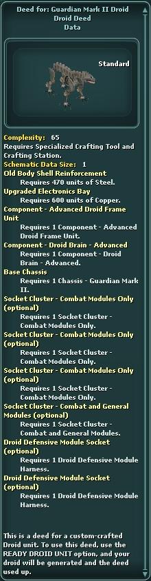Deed for: Guardian Mark II Droid