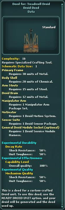 Deed for: Treadwell Droid
