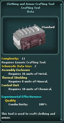 Clothing and Armor Crafting Tool