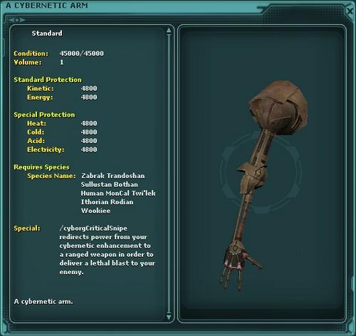 A Cybernetic Arm (critical snipe)