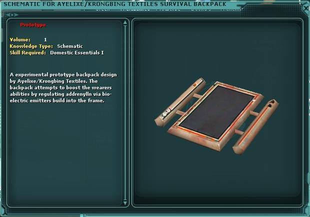 Ayelixe/Krongbing Textiles Survival Backpack (Schematic)