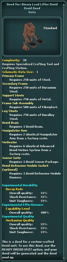 Deed for: Binary Load Lifter Droid