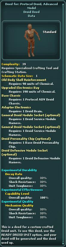 Deed for: Protocol Droid, Advanced Model