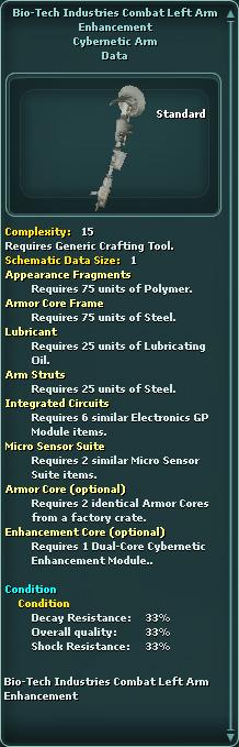 Bio-Tech Industries Combat Left Arm Enhancement