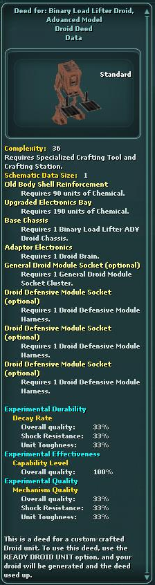 Deed for: Binary Load Lifter Droid, Advanced Model