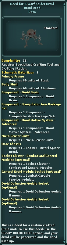 Deed for: Dwarf Spider Droid