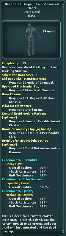 Deed for: LE Repair Droid, Advanced Model