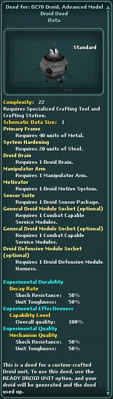 Deed for: DZ70 Droid, Advanced Model