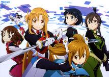 Yande.re 371793 aizawa takahiko dress gun kirigaya suguha lisbeth megane shino asada silica sword sword art online uniform weapon wings yui (sword art online)