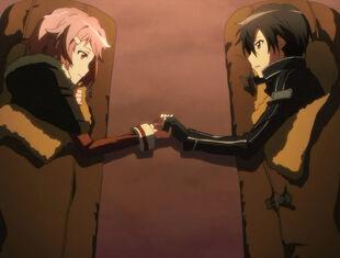Chan.sankakucomplex.com - 1764669 - sword art online kirito lisbeth screen capture 2girls clothed happy holding hands