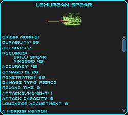 Lemurean spear, 1 healing, lvl 6 poison, 10 Psi shield.png