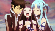 Kirito and Asuna comforting Persona Vabel