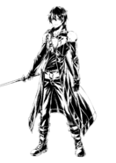 Kirito full body sketch by Mugetsu for the announcement of the Canon of the Golden Rule manga adaptation