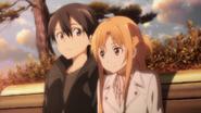 Kazuto and Asuna on a bench