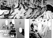 Asuna and Kirito hiding in a water hole to evade the Magnatherium's fire breath - Barcarolle manga c6