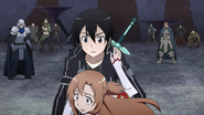 Asuna and other players about to be paralysed by Heathcliff