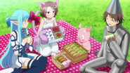 Asuna, Chiyuri, Haruyuki, and Takumu on a picnic