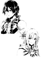 Asuna and Kirito bust sketches by Mugetsu for the announcement of the Canon of the Golden Rule manga adaptation