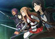 Kizmel, Asuna, Kirito and Koharu charging towards the Floor 9 Dungeon IF F9