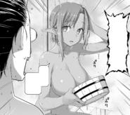 Kirito realising that Kizmel had joined him for bathing in the Dark Elf base - Progressive manga c35