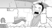 Kirito feeling embarrassed after noticing Kizmel's presence in the Dark Elf base bath - Progressive manga c35