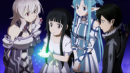 Kirito, Asuna, Yui, and Strea mourning the passing of the Pixie of Light