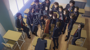 Yuuki at the centre of attention at school