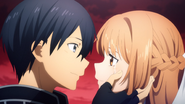 Kirito and Asuna peering into each other's eyes during their reunion - S3E43