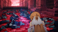 Injured Asuna fighting against Red Soldiers - S3E37